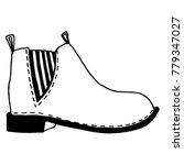 unisex chelsea boots sketch....   Shutterstock .eps vector #779347027