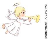 cute little christmas angel. he ... | Shutterstock .eps vector #779349793