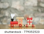 train with hart on stone wall... | Shutterstock . vector #779352523