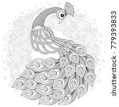 hand drawn peacock for anti... | Shutterstock . vector #779393833