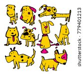 stylized funny doodle dogs.... | Shutterstock .eps vector #779401213