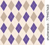 argyle knit pattern  purple and ... | Shutterstock .eps vector #779407663