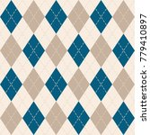 argyle knit pattern  blue and... | Shutterstock .eps vector #779410897
