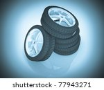 auto wheels. 3d illustration. | Shutterstock . vector #77943271