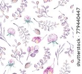 watercolor floral seamless... | Shutterstock . vector #779440447
