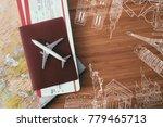 passport with airplane. travel... | Shutterstock . vector #779465713