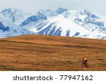 mountain biker in desert... | Shutterstock . vector #77947162