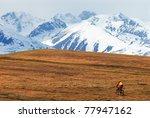 mountain biker in desert... | Shutterstock . vector #77947162