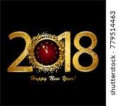 happy new year 2018  gold stars ... | Shutterstock .eps vector #779514463