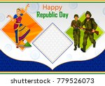 indian dancer and soldier on... | Shutterstock .eps vector #779526073
