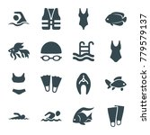 swimming icons. set of 16... | Shutterstock .eps vector #779579137