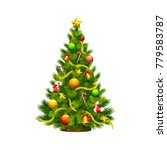 christmas tree green with toys  ... | Shutterstock .eps vector #779583787