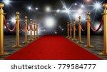 Red Carpet And Velvet Ropes On...