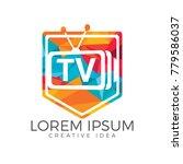 letter tv shield logo design.... | Shutterstock .eps vector #779586037
