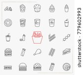 fast food line icons set | Shutterstock .eps vector #779602993