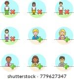 users  multicolor icon set | Shutterstock .eps vector #779627347