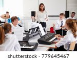 teenage students studying... | Shutterstock . vector #779645467