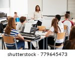 teenage students studying in... | Shutterstock . vector #779645473