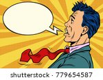 the puzzled man cartoon bubble. ... | Shutterstock .eps vector #779654587