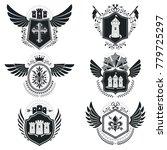 heraldic signs vector vintage... | Shutterstock .eps vector #779725297