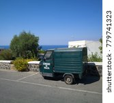 Small photo of Salina Island, Sicily, Italy - July 18 2017: Typical local life - Three wheeled country truck in the village of Malfa in Salina Island, one of the beautiful islands of the Eolian Islands Archipelago