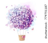 watercolor print  with purple ... | Shutterstock . vector #779751187