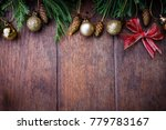 christmas balls decor style on... | Shutterstock . vector #779783167