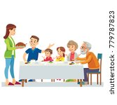 happy big family eating dinner... | Shutterstock .eps vector #779787823