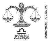 zendoodle design of libra... | Shutterstock .eps vector #779807497