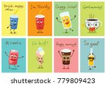 cartoon funny drink characters... | Shutterstock .eps vector #779809423