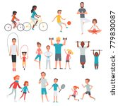 people flat fitness set with... | Shutterstock . vector #779830087