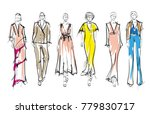 sketch. fashion girls on a... | Shutterstock .eps vector #779830717