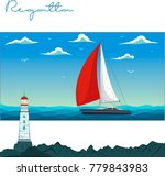 blue sea with yacht and... | Shutterstock .eps vector #779843983