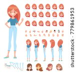 Front, side, back, 3/4 view animated character. Young girl character constructor with various views, face emotions, lip sync, poses and gestures. Cartoon style, flat vector illustration. | Shutterstock vector #779861953