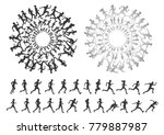 people run silhouette multiple...   Shutterstock .eps vector #779887987