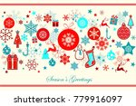 vintage blue and red christmas... | Shutterstock .eps vector #779916097