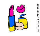 doodle lipstick and kiss.... | Shutterstock .eps vector #779927707