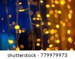 yellow bokeh on a blue... | Shutterstock . vector #779979973