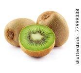 Kiwi Fruit Isolated On White...