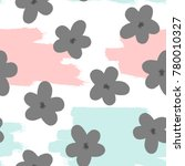 repeated flowers and brush... | Shutterstock .eps vector #780010327