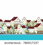 seamless vector border with old ... | Shutterstock .eps vector #780017257