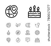 editable icons set with cake ...