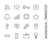 set of user interface line icon....