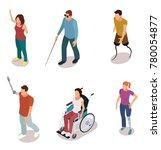set of disabled people cartoon...   Shutterstock .eps vector #780054877