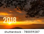 number 2018 with sun rising... | Shutterstock . vector #780059287