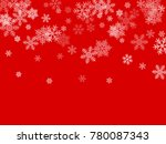white snowflakes falling on red ...   Shutterstock .eps vector #780087343