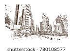 skyline doha city  qatar. hand...   Shutterstock .eps vector #780108577