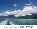 Small photo of Cruise ship anchored off the coast of Mo'orea, one of the Windward Islands & Society Islands, French Polynesia, South Pacific.