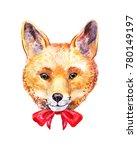 cute watercolor fox. hand drawn ...   Shutterstock . vector #780149197