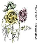 a drawing of dried roses.... | Shutterstock .eps vector #780168967